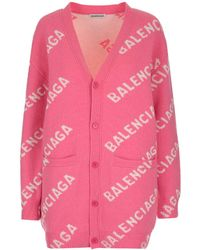 Balenciaga All Over Logo Intarsia Cardigan - Pink