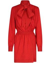 Saint Laurent Pussybow Jacquard Dress - Red