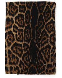 Saint Laurent Leopard Print Scarf - Multicolor