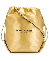 Saint Laurent Teddy Metallic Bucket Bag
