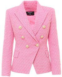 Balmain Tweed Double-breasted Blazer - Pink