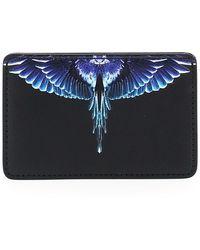 Marcelo Burlon Diagonal Wings Card Holder Os Leather - Blue