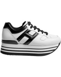 Hogan - H222 Black And White Leather Sneakers - Lyst
