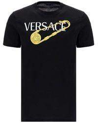 Versace Logo Safety Pin Print T-shirt - Black