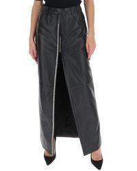 Saint Laurent Embellished Slitted Maxi Skirt - Black