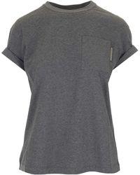 Brunello Cucinelli Brunello Crcinelli Pocket Rolled Sleeve T-shirt - Gray