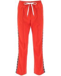 Miu Miu Side Logo Striped Track Trousers - Red
