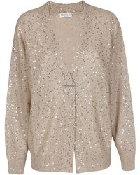 Brunello Cucinelli Sequins Knit Cardigan - Natural