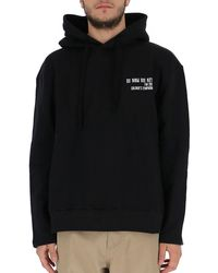 ih nom uh nit Logo Printed Hoodie - Black