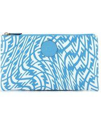Fendi Ff Vertigo Motif Clutch Bag - Blue