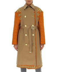 Versace Contrasting Panelled Belted Trench Coat - Natural