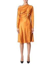 Versace Chain Detail Monogram Logo Dress - Orange