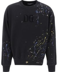 Dolce & Gabbana Colour Dripping Effect Sweatshirt L Cotton - Black