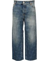 Balenciaga Allover Logo Cropped Jeans - Blue