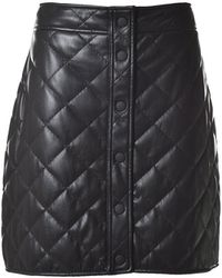 MSGM Faux Leather Quilted Buttoned Skirt - Black