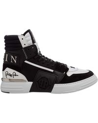 Philipp Plein Men's Shoes High Top Leather Sneakers Sneakers Phantom Kicks - Black