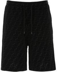 Fendi Ff Motif Bermuda Shorts - Black