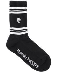 Alexander McQueen Sport Stripe Skull Socks - Black
