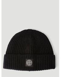 Stone Island Logo-patch Beanie Hat - Black