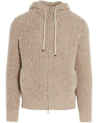 Brunello Cucinelli Knitted Zipped Cardigan - Natural