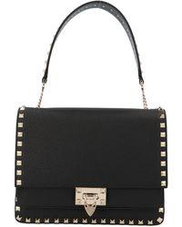 Valentino Garavani Rockstud Top Handle Shoulder Bag - Black