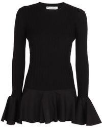 JW Anderson Bell-sleeved Peplum Jumper - Black