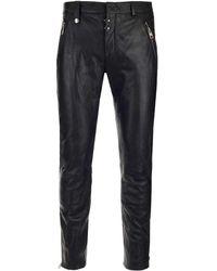 Alexander McQueen Leather Biker Trousers - Black