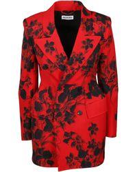Balenciaga Hourglass Floral Jacquard Blazer - Red