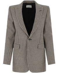 Saint Laurent Embroidered Wool Blend Blazer 38f - Grey