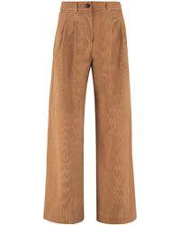 Max Mara Spadino Corduroy Wide Leg Pants - Brown