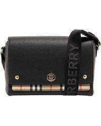 Burberry Note Vintage Check Crossbody Bag - Black
