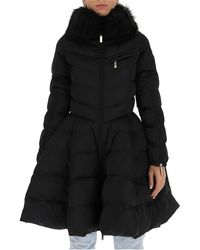 Elisabetta Franchi Faux Fur Circle Quilted Coat - Black