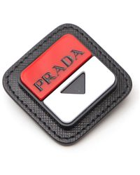 Prada Logo Embossed Brooch - Black