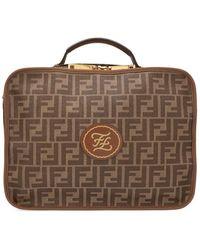 Fendi Ff Logo Travel Suitcase - Brown
