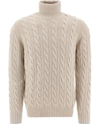 Brunello Cucinelli Turtleneck Knitted Sweater - Natural