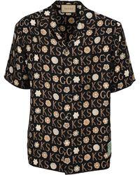 Gucci X Ken Scott Print Bowling Shirt - Black