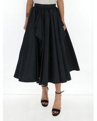 Alexander McQueen Pleated Flared Midi Skirt - Black