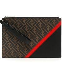 Fendi Ff Monogram Diagonal Clutch Bag - Multicolour