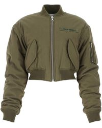 Palm Angels Cropped Bomber Jacket - Green
