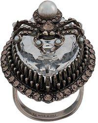Alexander McQueen Crystal Spider Ring - Metallic