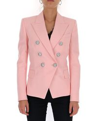Balmain Six Button Double Breasted Tweed Jacket - Pink