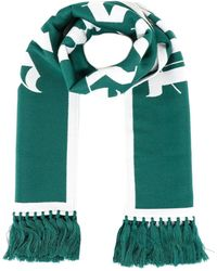 Palm Angels Wool-cotton Blend Scarf - Green