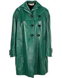 Marni Crocodile-effect Duster Coat - Green