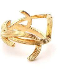 Saint Laurent Interlaced Monogram Ring - Metallic