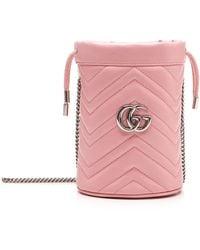 Gucci Pink Mini GG Marmont Bucket Bag