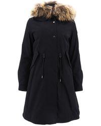 Woolrich Hooded Drawstring Waist Parka Coat - Black