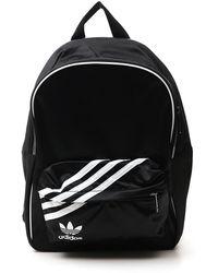 adidas Originals Logo Print Zipped Backpack - Black