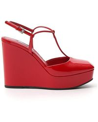 Prada Ankle Strap Wedges - Red