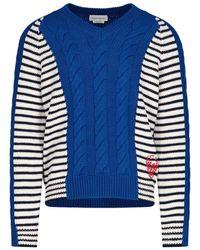 Alexander McQueen Striped Knitted Sweater - Blue