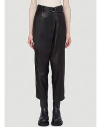 Helmut Lang Wrap Over Leather Trousers - Black